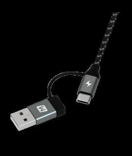 Momax One Link 4合1Type-C PD 1.2M 連接線 (黑)