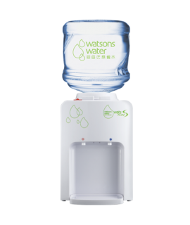 屈臣氏 家居水機 - Wats-MiniS 座檯式冷熱水機 (白) + 12公升家庭裝蒸餾水 x 6樽