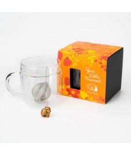 Double Walled Glass Mug X Chichi Box set - Animal ( Gold )