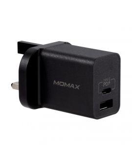 Momax One Plug 雙輸出 USB 快速充電器 (USB-C PD 3.0+QC 3.0) (黑)