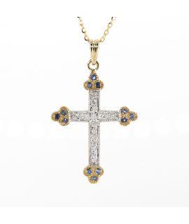 18K黃金 藍寶和鑽石十字架吊墜