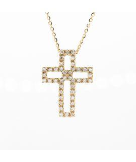 18K黃金 鑽石十字架吊墜