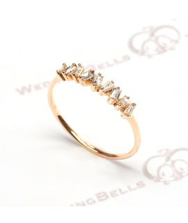 18K 玫瑰色黃金鑽石戒指